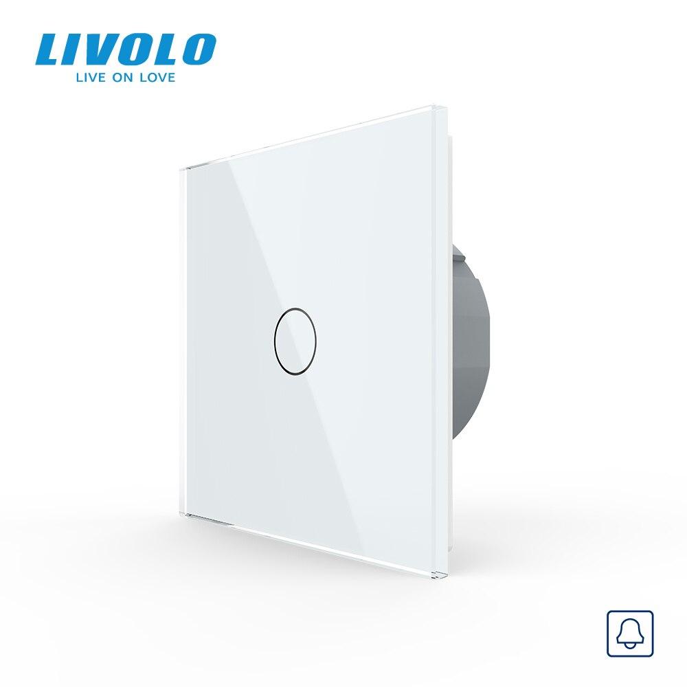 Livolo EU Standard Door Bell Switch Crystal Glass Switch Panel 220~250V Touch Screen Door Bell SwitchC701B-1/2/3/5no logo